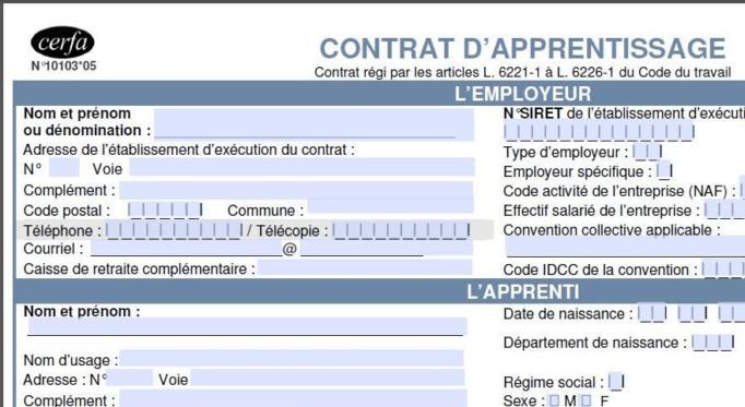Un nouveau mod le de contrat d 39 apprentissage depuis le 1er - Contrat d apprentissage chambre des metiers ...