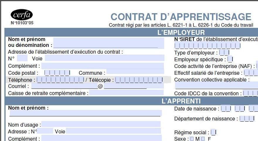 contrat de travail apprentissage modele Un nouveau modèle de contrat d'apprentissage depuis le 1er juillet  contrat de travail apprentissage modele