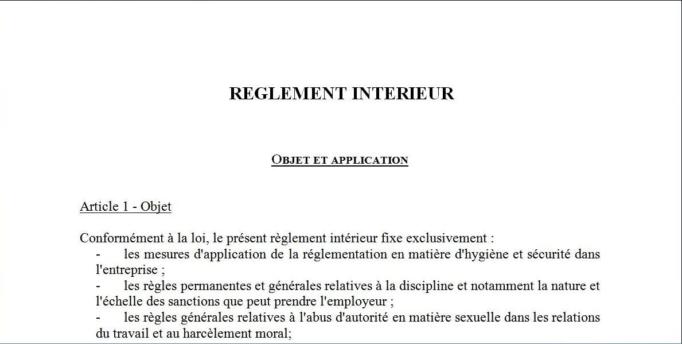 Règlement intérieur : rappel des règles d'entrée en vigueur