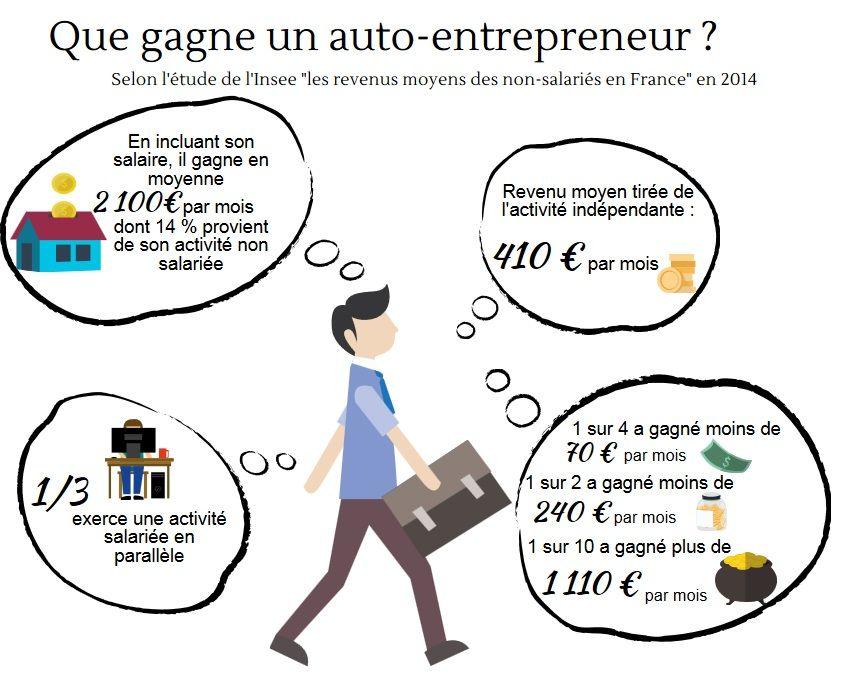 Les auto entrepreneurs gagnent en moyenne 410 euros par mois for Idee auto entrepreneur 2016