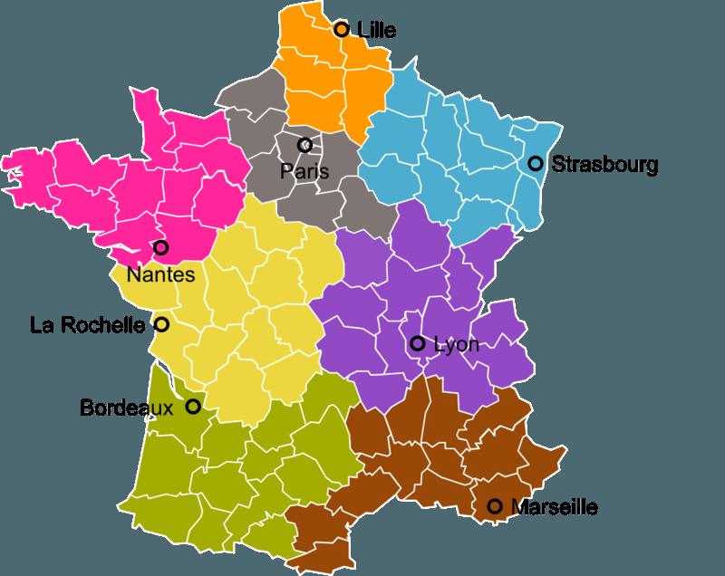 carte des 8 régions