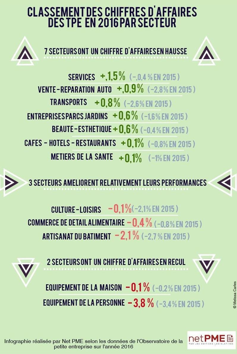 Classement par chiffre d'affaires en 2016 des secteurs des TPE